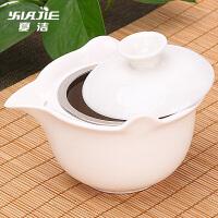 家用功夫茶具套装三才碗白瓷普洱茶壶陶瓷盖碗茶杯大号泡茶器