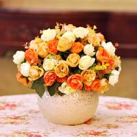 花套装客厅花艺卧室玫瑰花瓶欧式田园绢花装饰花餐桌假花摆件