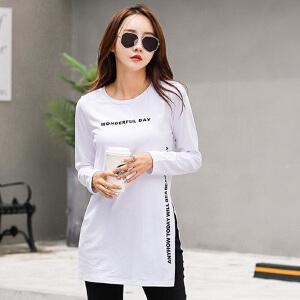 中长款t恤女长袖棉2017秋季韩版白色修身打底衫大码长款体恤上衣
