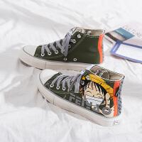 黑色帆布鞋女高帮潮鞋韩版百搭学生秋季小黑鞋紫外线变色光感