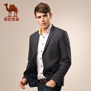 骆驼男装 春秋季款几何图案休闲西装 青春潮流修身便西外套 男
