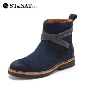 【3折到手价149.7元】星期六男鞋(ST&SAT)二层磨砂牛皮革平跟圆头时尚休闲男靴 SS129164