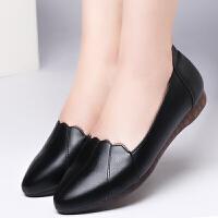 妈妈鞋软底平底女单鞋舒适春秋款中年女鞋轻便中老年皮鞋防滑 黑 D3