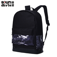 【支持礼品卡支付】soundbyte学院风双肩背包男女黑色书包