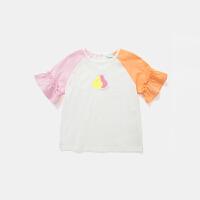 【限时2件2.5折】马卡乐童装2021年夏新款女童插肩袖撞色设计童趣舒适短袖T恤
