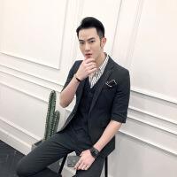英伦小西装男士韩版修身七分袖西服套装发型师半袖潮外套SJT821