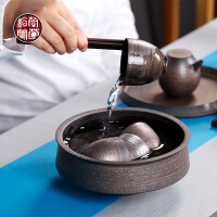 粗陶古铜鎏金景德镇建水茶洗陶瓷家用大号笔洗仿古水洗茶杯的器皿