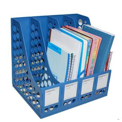 齐心文件座 文件架 B2114四联文件框 资料架文件栏四格文件筐 全场满50元包邮,新疆西藏除外