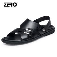 Zero零度凉鞋男夏季真皮休闲皮鞋两用凉拖鞋沙滩鞋子 男F6171