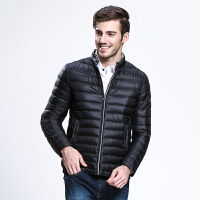 坦博尔冬季新品轻薄短款羽绒服休闲男立领简约羽绒外套男士TA3235