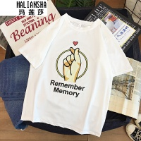玛莲莎2019夏季情侣装夏装半袖港味上衣韩版宽松白色短袖T恤比心