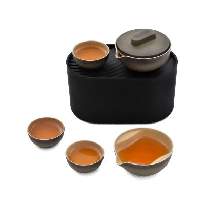泊喜(Pertouch)小巨蛋T1便携式旅行功夫茶具快客杯一壶二杯陶瓷家用茶具套装-海礁石(极客黑) 顺丰可发 小巨蛋T1系列 功夫茶具