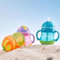 日康宝宝缤纷吸管杯 宝宝饮水杯学习杯 带手柄防漏婴儿童训练杯