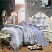 欧式贡缎提花四件套蕾丝全棉被罩纯棉1.8/2.0m结婚庆床上用品 卡其色 苏格兰