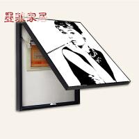 墨菲 电表箱遮挡画装饰画随意停 客厅餐厅现代简约黑白色画壁画