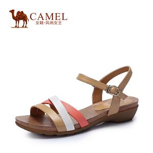 camel骆驼女鞋 舒适时尚新款珠光牛皮纳帕牛皮中跟 春夏女凉鞋