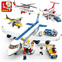 兼容拼插小鲁班空中巴士飞机航空客机拼装积木儿童益智玩具