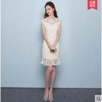 时尚旗袍 新款短款日常少女改良版 学生甜美蕾丝连衣裙