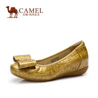 camel骆驼女鞋  秋季新款蝴蝶结圆头平底鞋浅口懒人平跟女单鞋