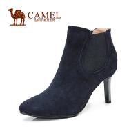 camel骆驼女鞋 简约优雅 秋冬款羊绒松紧带小尖头细高跟短靴