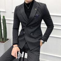 条纹小西装男套装韩版修身帅气双排扣男士西服上班正装礼服两件套
