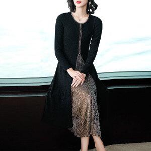 秋装女2018新款长袖修身亮丝中长款连衣裙假两件裙子