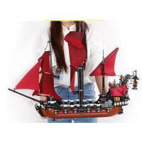 乐拼兼容乐高拼装玩具男孩6-12岁加勒比海盗船安妮女王复仇号积木