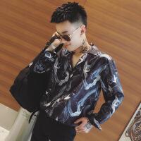 衬衫男学生衬衫男长袖韩版潮流仙鹤薄款帅气宽松休闲上衣服秋季男装衬衣 黑色