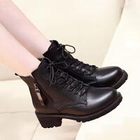 2019马丁靴女英伦风学生粗跟韩版系带冬中跟靴子百搭秋季短靴 黑色加绒 34
