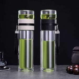 北斗正明多功能茶水分离双层简约玻璃商务旅行车载过滤泡茶水杯