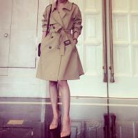 2017秋装新款韩国修身显瘦卡其色双排扣中长款气质女式风衣外套潮 卡其色