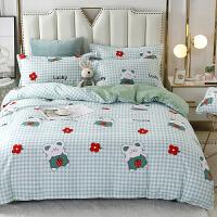 被窝窝 床上用品单双人羊绒棉AB版四件套 床单 被罩 枕套
