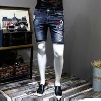 2018刺绣花牛仔裤短裤修身弹力男士中裤休闲潮流五分裤潮 深蓝色