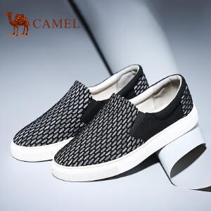 【跨店每满200减100】camel骆驼男鞋 新品 帆布鞋黑白编织网布时尚休闲板鞋