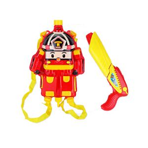 童水枪玩具背包式 变形警车珀利夏日户外小孩沙滩戏水洗澡玩具