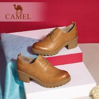camel骆驼女鞋 秋季新款复古休闲舒适圆头系带方跟深口单鞋