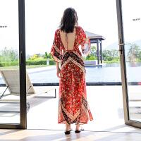 露背沙滩裙性感长裙显瘦波西米亚连衣裙泰国海边度假裙民族风裙子 红色
