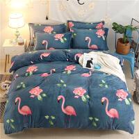 法兰绒床单被套四件套冬季床上珊瑚绒双面法莱三件套毛毯两件法拉 墨绿色 幸福鸟法莱绒