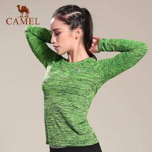 camel骆驼户外运动T恤 女款健身瑜伽圆领长袖休闲T恤
