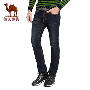 骆驼男装 2017年冬季新款微弹中腰水洗直筒男青年牛仔裤长裤子