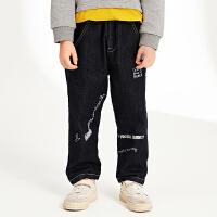 【2件2.5折:79元】马拉丁童装男童牛仔长裤春装新款儿童个性印花黑色牛仔裤潮