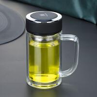 带盖泡茶双层便携水杯加厚耐热男杯子玻璃杯带把手过滤茶杯