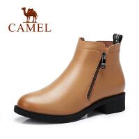 Camel/骆驼女鞋 春季新品简约休闲女靴马丁靴舒适侧拉链女靴子短靴