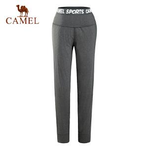 camel骆驼女款运动长裤 抗皱耐磨宽松跑步针织女裤