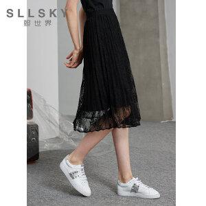 熙世界黑色蕾丝半身裙女2018秋装新款中长款高腰a字裙子113LQ026