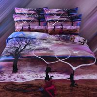 梵巢家纺 全棉油画三D印花四件套 纯棉立体3d床单被套 双人床四件套