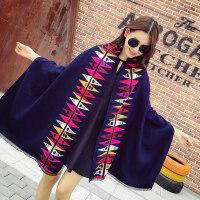 秋冬季新款仿羊绒围巾韩版女士加厚披肩两用学生保暖针织毛线围脖