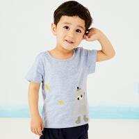 马拉丁童装男小童t恤休闲趣味印花短袖圆领上衣夏款装新款