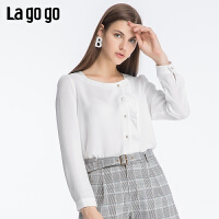Lagogo2019年秋季新款纯色圆领长袖衬衫女雪纺白色上衣ICCC438C11