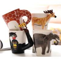3D立体手绘陶瓷马克杯 纯手绘动物杯卡通水杯彩绘咖啡杯